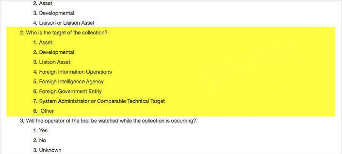 Trecho do questionário que deve ser preenchido por cada funcionário da CIA antes de começar uma operação hacker