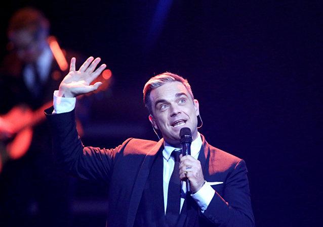 Robbie Williams durante show na Alemanha (foto de Arquivo)