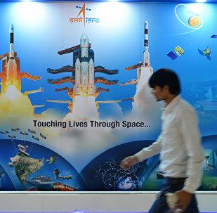 O cartaz da Organização Indiana de Pesquisa Espacial