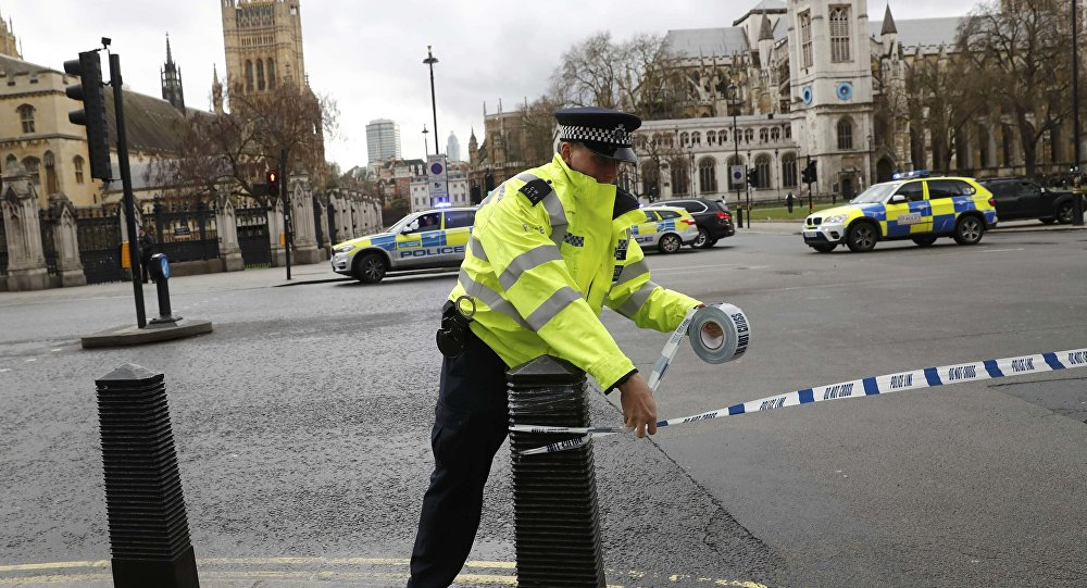 Um agente da polícia britânica sela o acesso à praça do Parlamento, em Londres (arquivo)