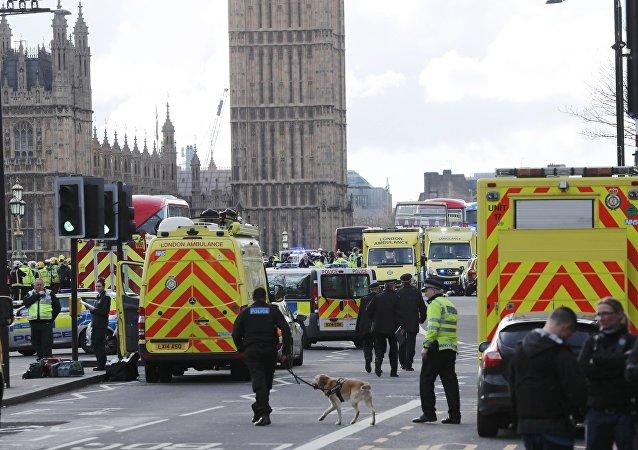Agentes dos serviços de emergências ajudam no socorro às vítimas do ataque na ponte de Westminster, em Londres