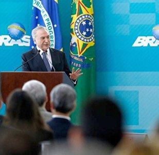 Michel Temer no lançamento do Novo Processo de Exportações do Portal Único de Comércio Exterior, em Brasília
