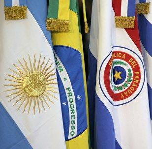 Bandeiras de países membros do Mercosul