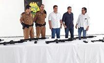Policiais já estão em treinamento para usar as novas armas doadas pelos empresários e a comunidade de Laranjeiras do Sul