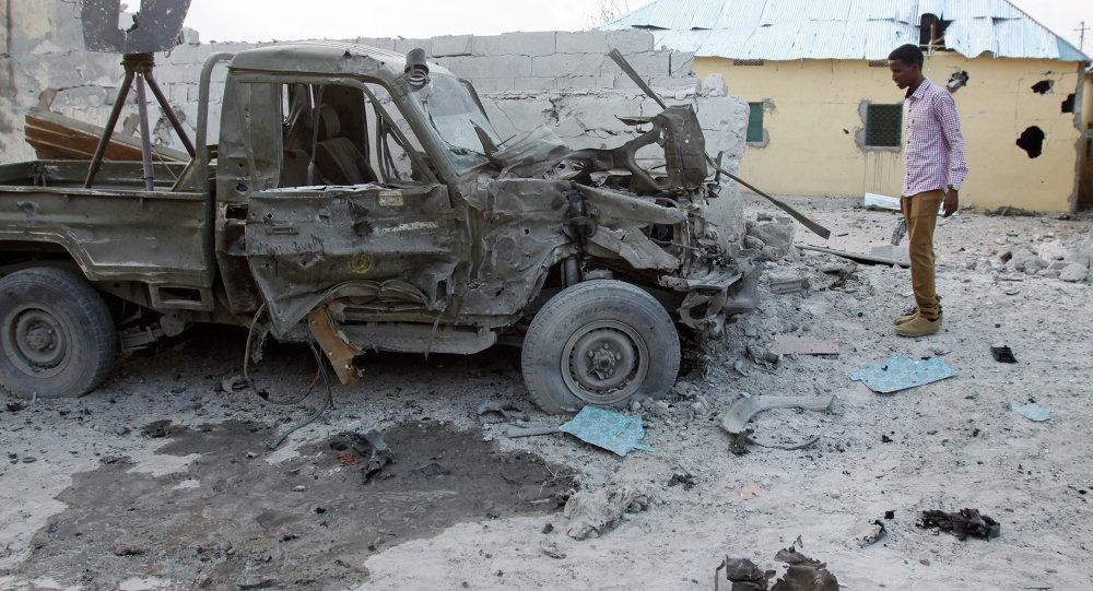 Veículo explodido em Somália  (foto de arquivo).