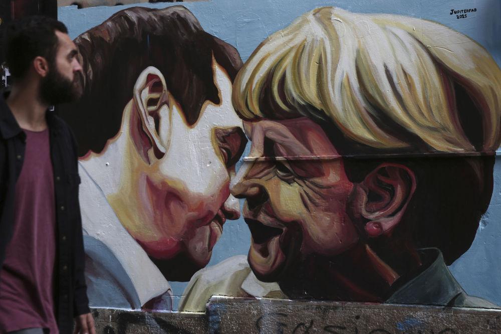 Alexis Tsipras e Angela Merkel, Atenas