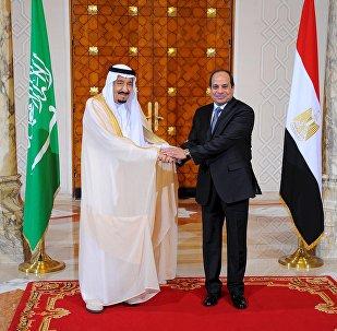 O presidente egípcio Abdel Fattah al-Sisi e o rei Salman da Arábia Saudita apertam as mãos durante a cerimônia de recepção no palácio presidencial egípcio, no Cairo, no Egito  (foto de arquivo)