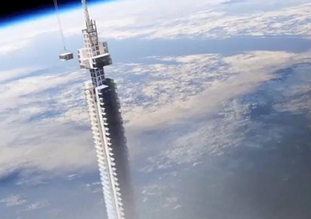 Projeto de arranha-céu pendurada em asteroide