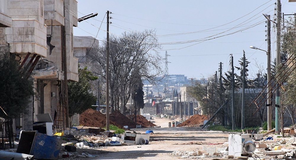 Uma rua no subúrbio Tadef de Aleppo, em finais de março de 2017