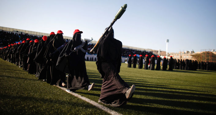 Mulheres leais ao movimento houthi em Sanaa, Iêmen