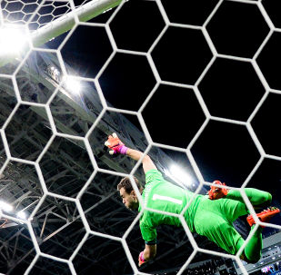 Goleiro da seleção russa de futebol, Igor Akinfeev, durante confronto com a Bélgica em Sochi (3 a 3), em 28 de março
