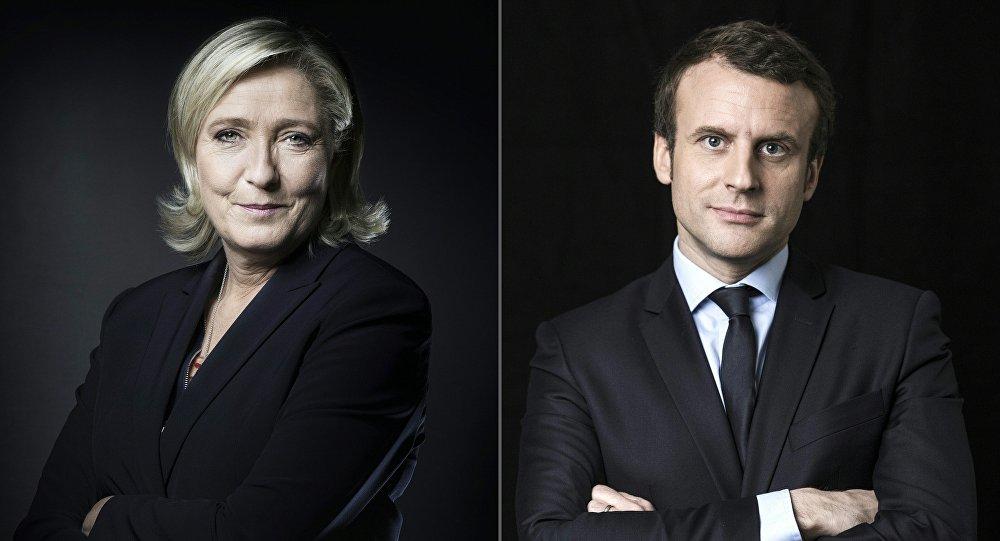 Combinação de fotos dos presidenciáveis franceses, Marine Le Pen da Frente Nacional e Emmanuel Macron, candidato independente