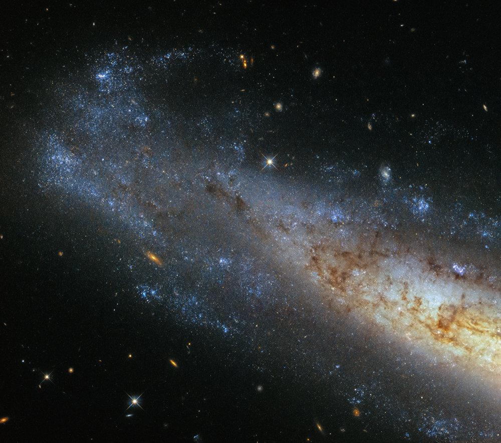 O satélite astronômico artificial Hubble transmitiu para a Terra as imagens nítidas da galáxia espiral NGC 1448, localizada na constelação de Horologium (Relógio), mais precisamente a 50.000 milhões de anos-luz da Terra