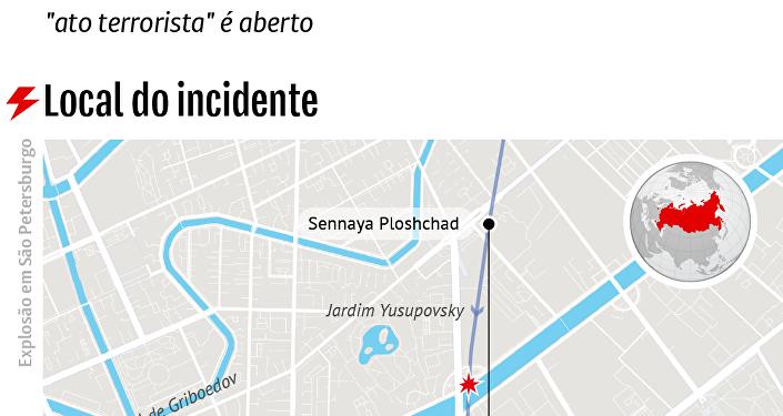 Mapa do atentado em São Petersburgo