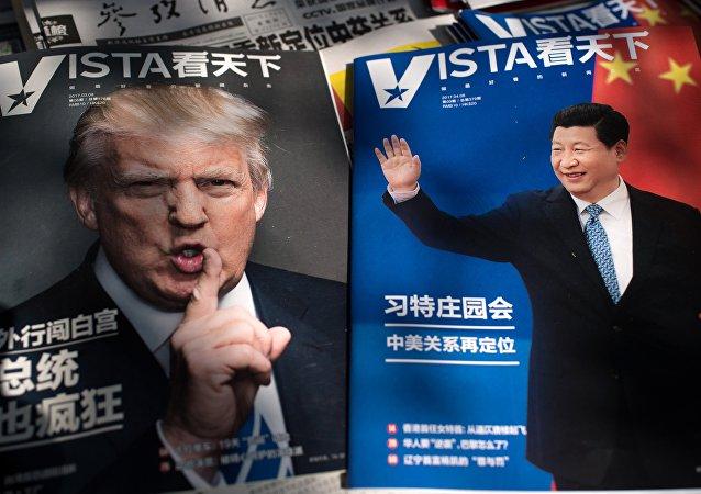 Jornais destacam o encontro do presidente dos EUA Donald Trump (à esquerda) e presidente da China Xi Jinping  (à direita)
