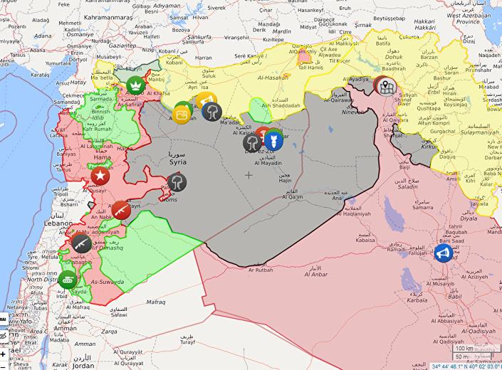 Mapa no qual se vê que a frente de combate mais extensa que o Daesh tem é com os curdos