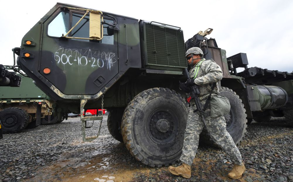 Soldado americano durante treinamentos conjuntos dos EUA e Coreia do Sul em Pohang, a 260 km de Seul, 11 de abril de 2017