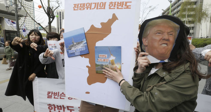 Protestos contra implementação do THAAD americano na Coreia do Sul, Seul, 13 de abril de 2017