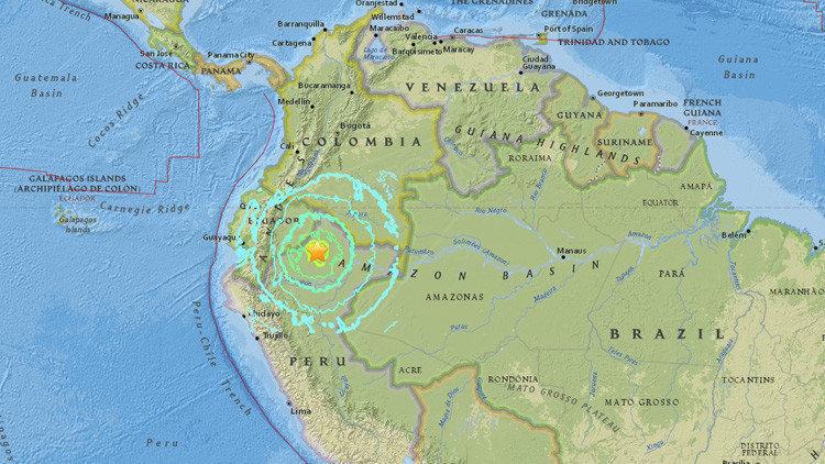 Mapa do Serviço Geológico dos Estados Unidos (USGS) mostra epicentro e alcance do tremor, cujo epicentro foi registrado no Peru
