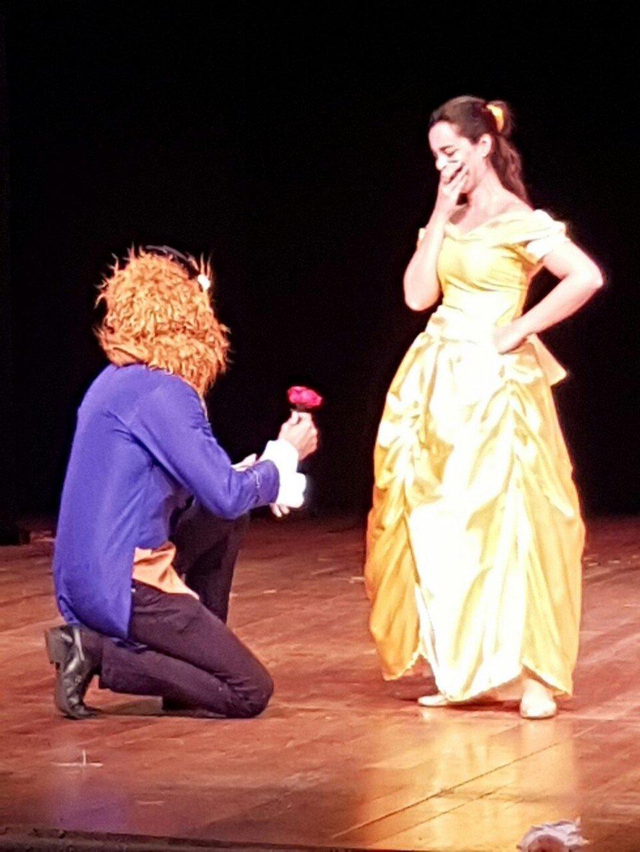 André vestido de Fera segurava a rosa encantada, que é um símbolo da história de A Bela e a Fera. Se a última pétala caísse o príncipe ficaria como Fera para sempre.