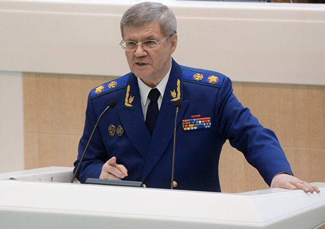 Procurator General of the Russian Federation Yury Chayka speaks at a session of the Federation Council of Russia