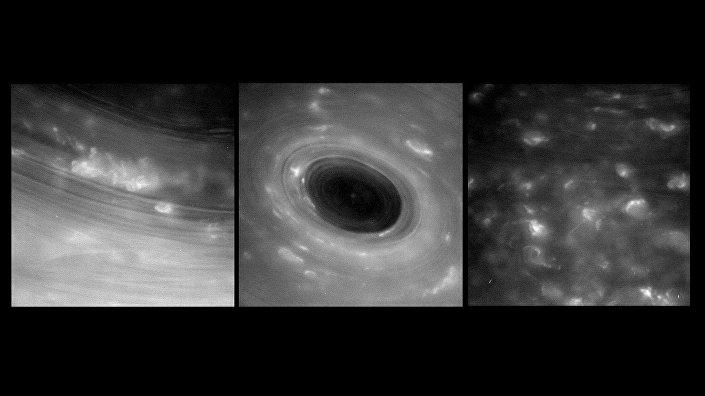 Furacões gigantescos na superfície de Saturno