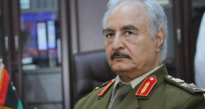 In this March 18, 2015 file photo, Gen. Khalifa Haftar, then Libya's top army chief, speaks during an interview with the Associated Press in al-Marj, Libya.