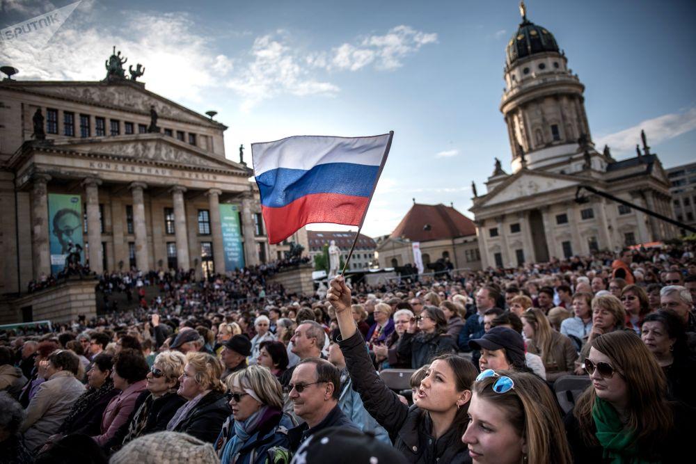 Concerto dos músicos russos no centro de Berlim por ocasião do Dia da Vitória