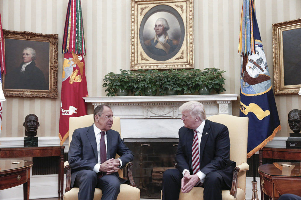 Ministro do Exterior russo, Sergei Lavrov, durante encontro com Donald Trump, presidente dos EUA