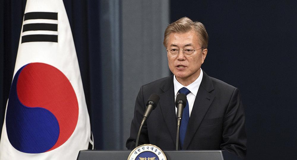 Presidente da Coreia do Sul, Moon Jae-in, durante coletiva de imprensa em 10 de maio de 2017