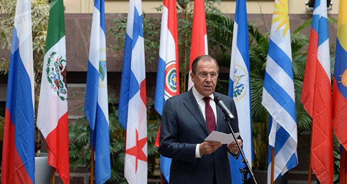 Ministro das Relações Exteriores da Rússia, Sergei Lavrov, fala durante evento por ocasião dos 70 anos de relações diplomáticas entre a Rússia e as nações da América Latina