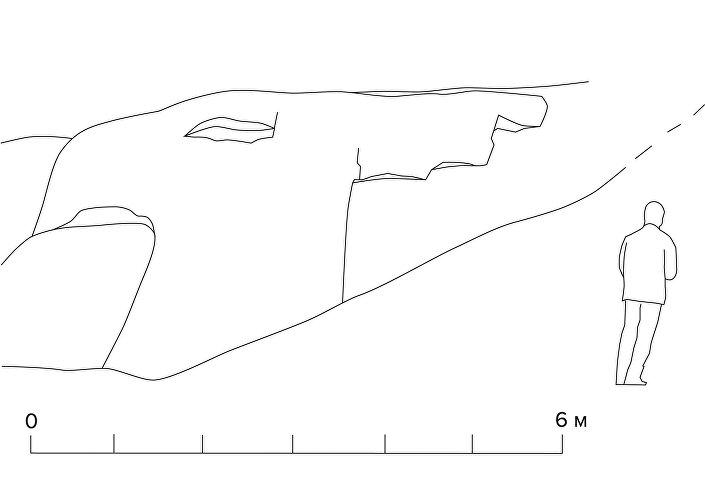 Desenho do Grifo, um antigo megalito descoberto nas Montanhas de Altai, na Rússia