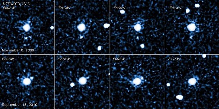 Imagens do planeta anão 2007 OR10 e sua lua feitas pelo telescópio espacial Hubble