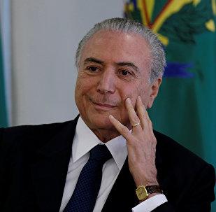 Presidente da República Michel Temer durante a posse do ministro da Cultura, Roberto Freire, em Brasília. Dia 23 de novembro de 2016.