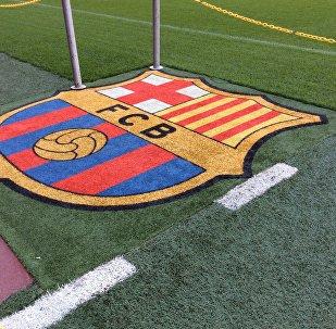 El logotipo del FC Barcelona, sobre el césped del estadio