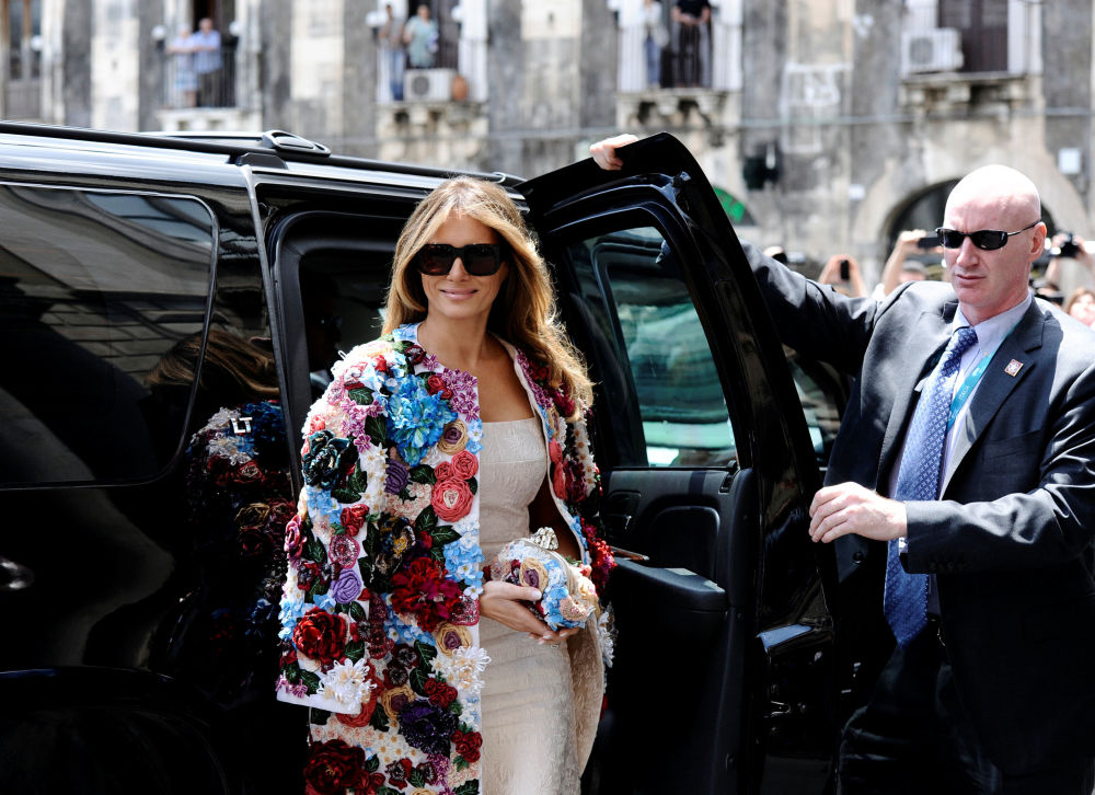 A primeira-dama dos EUA, Melania Trump, na Sicília durante sua primeira viagem oficial ao estrangeiro