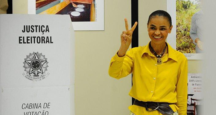 Marina Silva após votar nas presidenciais em 2014