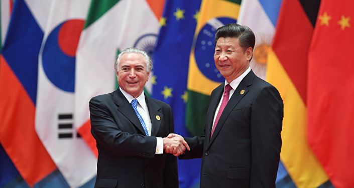 Michel Temer e o presidente chinês, Xi Jinping, durante cúpula do G20 na China, em 2016