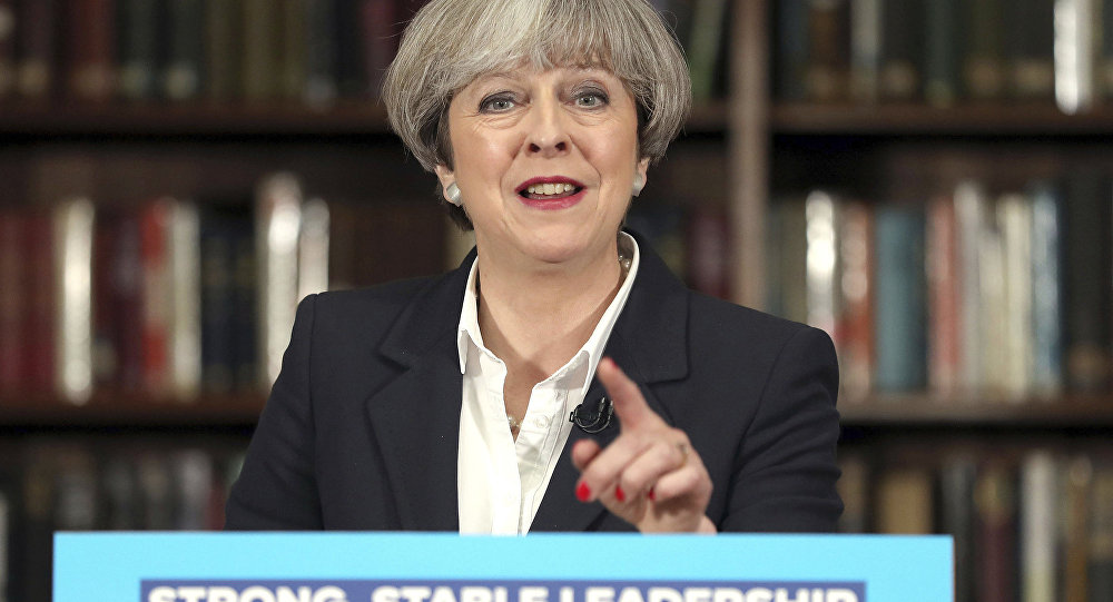 Britain's Prime Minister Theresa May makes a speech at the Royal United Services Institute for Defence and Security Studies in central London while on the General Election campaign trail. Monday June 5, 2017.