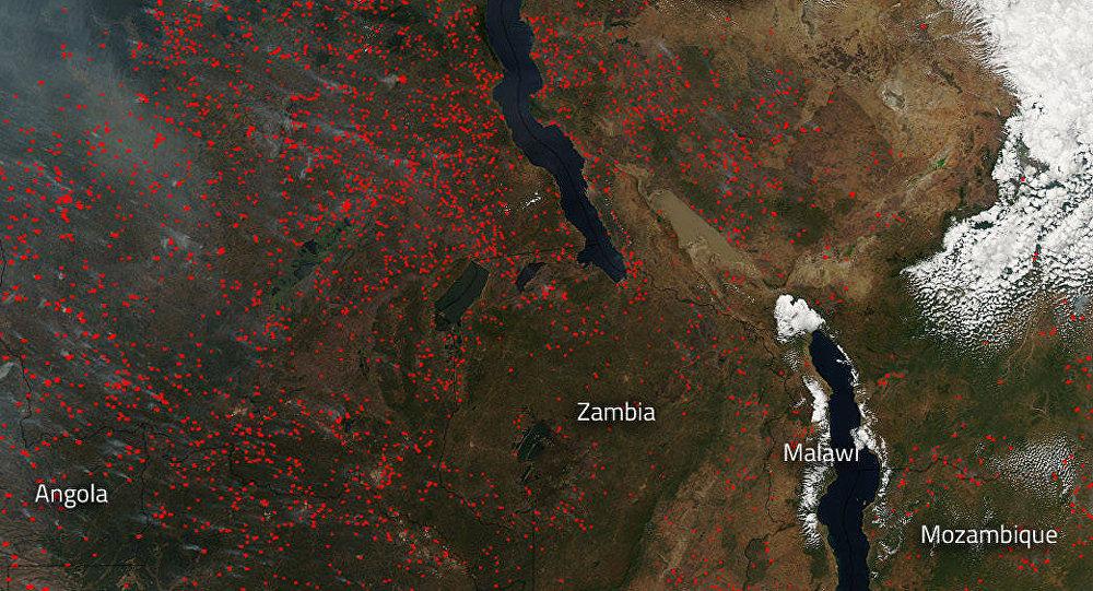 Àfrica está abarcado por incêndios florestais