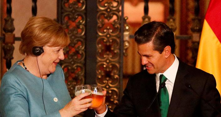 Merkel e Nieto, na Cidade do México