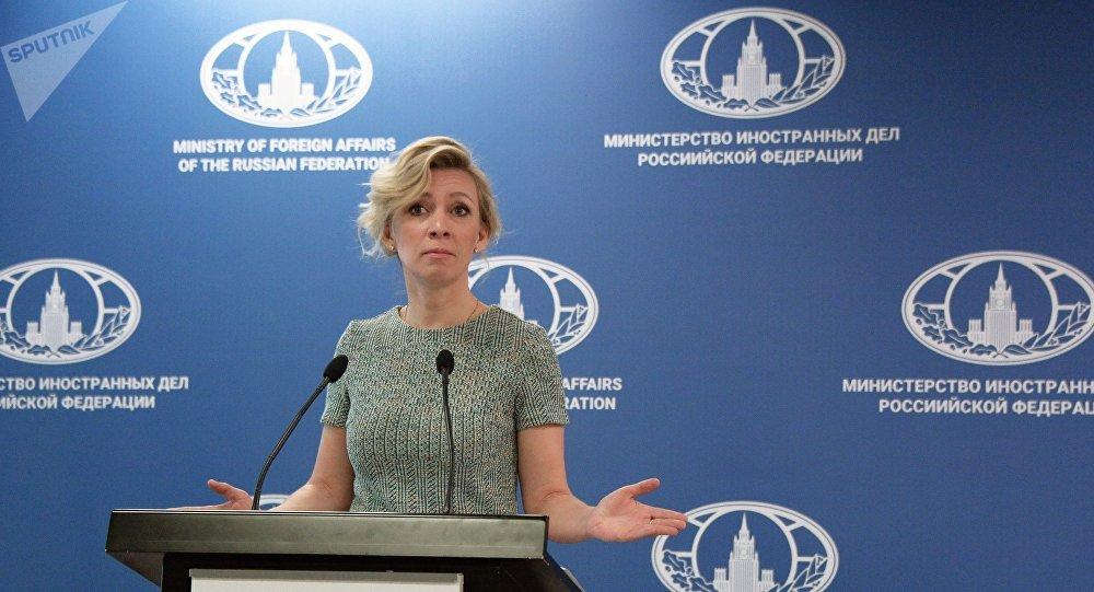 A representante oficial do Ministério das Relações Exteriores russo, Maria Zakharova, na cidade crimeana de Alushta, em 11 de junho de 2017