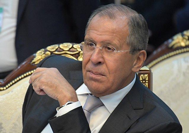 Ministro das Relações Exteriores russo Sergei Lavrov na reunião dos líderes dos países-membros da Comunidade dos Estados Independentes, Quirguistão, 16 de setembro de 2016