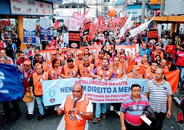 Metalúrgicos, uma das categorias que engrossa os protestos contra a reforma da Previdência