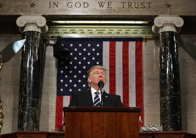Presidente dos EUA Donald Trump durante discurso na sessão do Congresso dos EUA