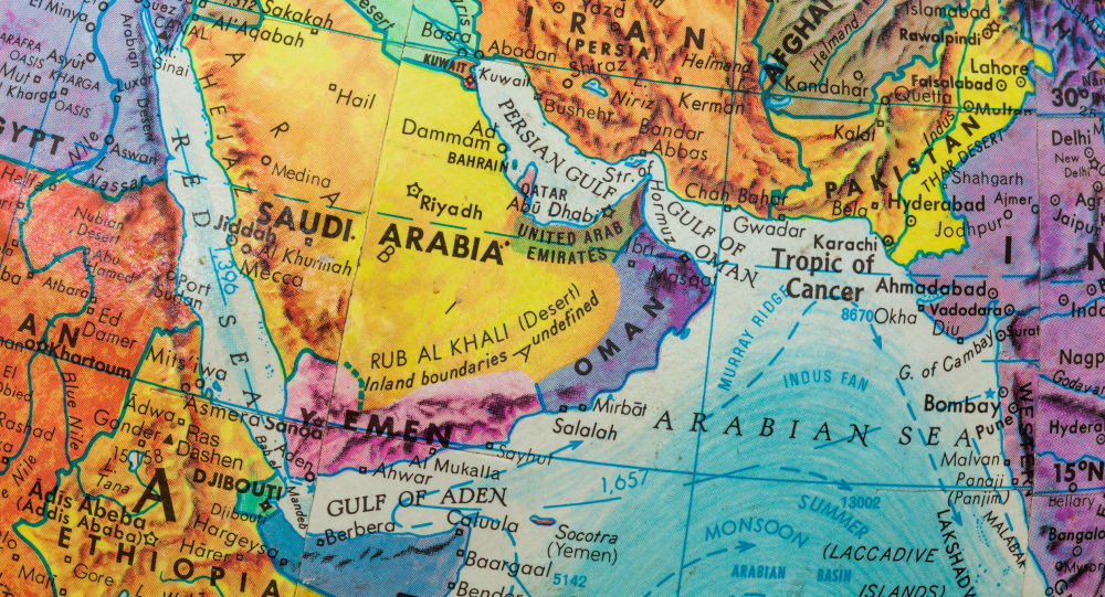 Mapa do Oriente Médio e países do Golfo Pérsico