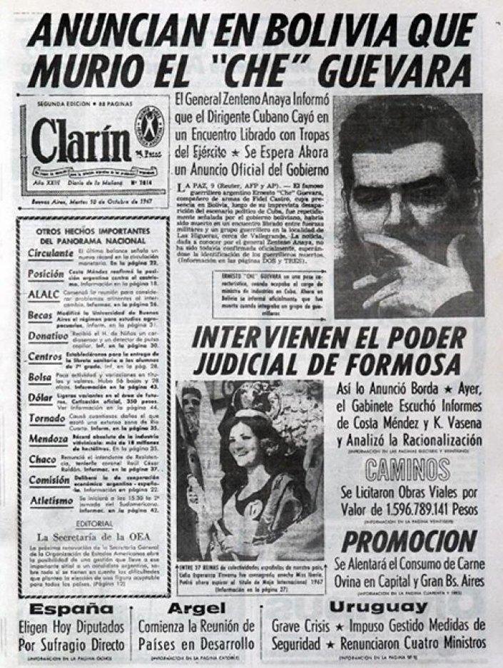 Capa do jornal argentino Clarín, de 10 de outubro de 1967, anuncia a morte de Ernesto Che Guevara