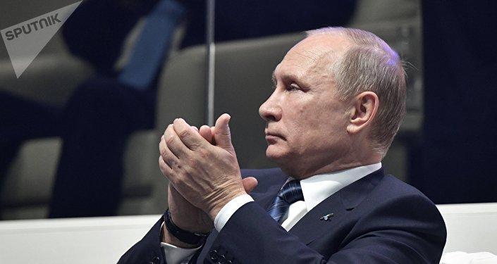 Vladimir Putin visto durante uma visita ao Cazaquistão em 9 de junho de 2017