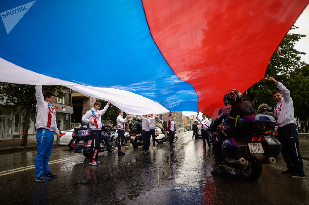 Comício comemorativo por ocasião do Dia da Rússia na cidade russa de Novosibirsk