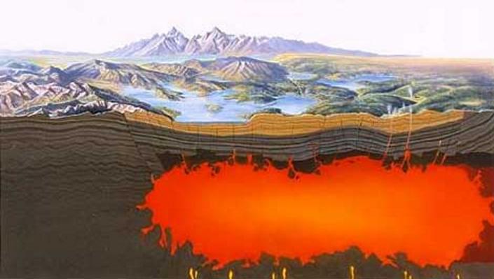 Câmara de magma sob o supervulcão de Yellowstone